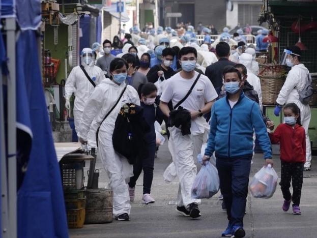 """香港特区政府首次""""封区""""进行强制性新冠病毒检测"""